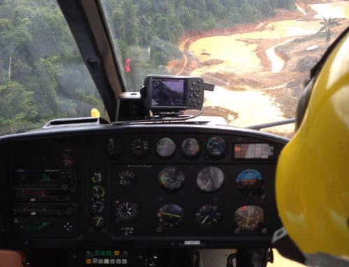 Traveling by helicopter to mine in French Guiana, 2014.